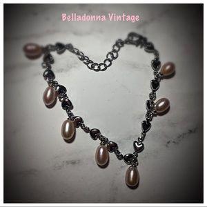 Sterling Silver Heart Bracelet w/ Pink Pearls